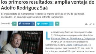 El diario La Nación destacó el accionar del escrutinio provisorio de San Luis