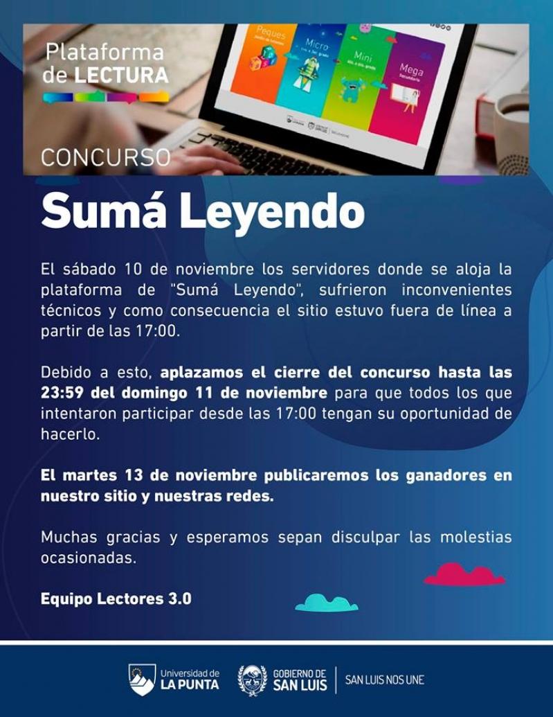 Hoy cierra el concurso Suma Leyendo