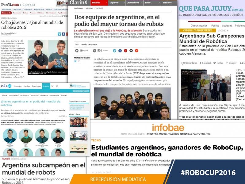 El logro puntano en la RoboCup 2016 es noticia en todo el país