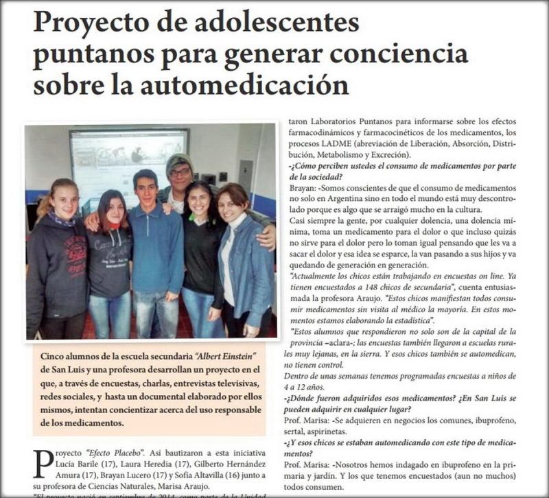 """""""Efecto placebo"""", el proyecto de ciencias de la Einstein que alcanzó repercusión nacional"""
