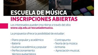 Hoy comienzan las clases en la Escuela de la Música de la ULP