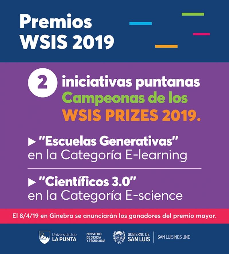 Escuelas Generativas y Científicos 3.0 fueron distinguidas como campeonas en los Premios WSIS