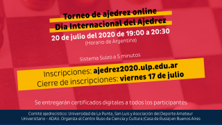 Día Internacional del Ajedrez: la ULP organiza un torneo en conjunto con la Casa de Rusia