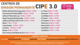 Dan a conocer los horarios de verano de los Centros de Emisión CIPE 3.0