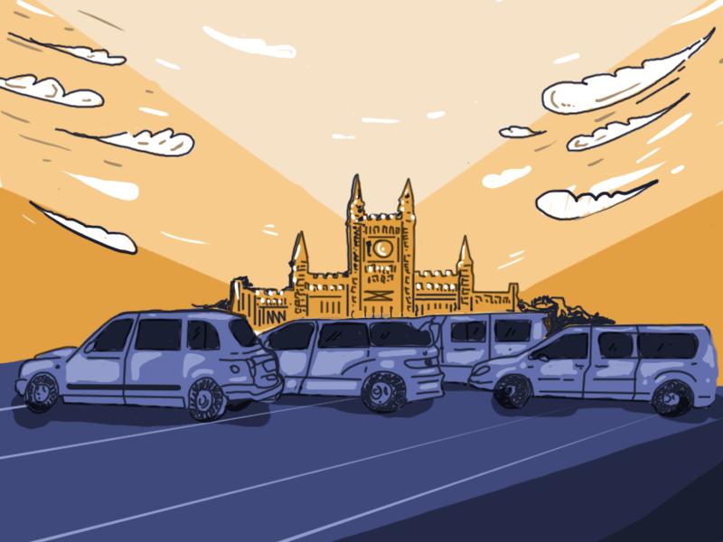Taxis azules y amarillos