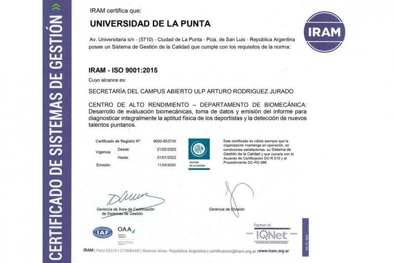 El Laboratorio de Biomecánica del Campus es el único del país con certificación de Normas ISO