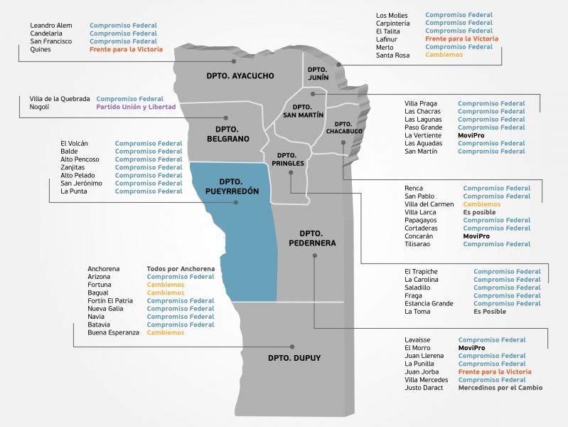 Así quedó conformado el mapa político de la provincia de San Luis