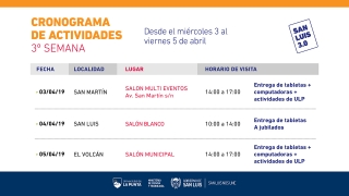 Cronograma de entrega de dispositivos desde el miércoles 3 al viernes 5 de abril