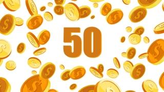 Cincuenta monedas en hilera